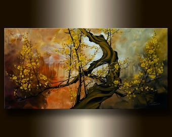 HUGE Original Asian Zen Art Modern Flower Canvas Oil Painting 30X60 Asian Blossoms oversized by Willson Lau