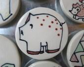 Pig Magnet Handmade Ceramic Refrigerator Magnet Hand Drawn Speckled Pig Illustration
