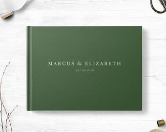 Green wedding guestbook, Landscape or Portrait, Wedding guest book, Various colors