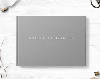 Gray wedding guest book, Landscape or Portrait, Wedding guest book, Various colors