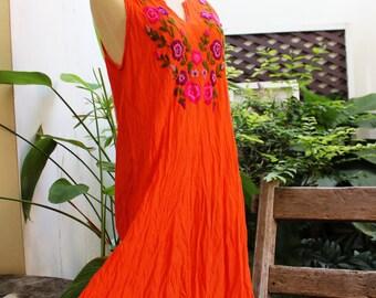 Sleeveless Bohemian Embroidered Tunic - Fresh Orange
