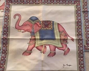 Jim Thompson Silk Pillow Sham w/ Elephant Motif Never Used
