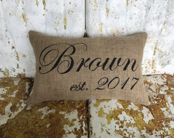 Personalized Last Family Name and Established Date Burlap Pillow Throw Accent Pillow Custom Colors Wedding Anniversary Gift Home Decor