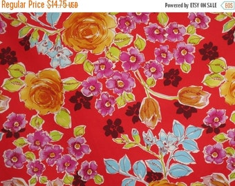 ON SALE Bright Floral Print on Red Stretch Cotton Sateen Fabric--One Yard