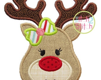 Reindeer Face Girl Applique In Hoop Size(s) 4x4, 5x7 & 6x10, Shown with our BallerinaScript/AsTheDeer Fonts NOT Included, INSTANT DOWNLOAD