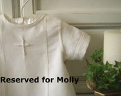 RESERVED for Molly - Aaron, 2 piece Baptism suit with cross embroidery, 1st half payment
