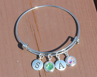 Two Initial and Two Swarovski Crystal Adjustable Bangle - Gifts for Her - Gifts for Mom