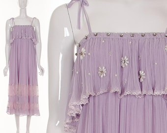 1970's Lilac Purple Pleated Crinkle Maxi Dress Ruffle Long Dress Lacey Dress Beaded Rhinestone Summer Dress Small Medium