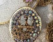 OOAK Assemblage Locket Pendant, Upcycled Jewelry, Repurposed Vintage Jewelry
