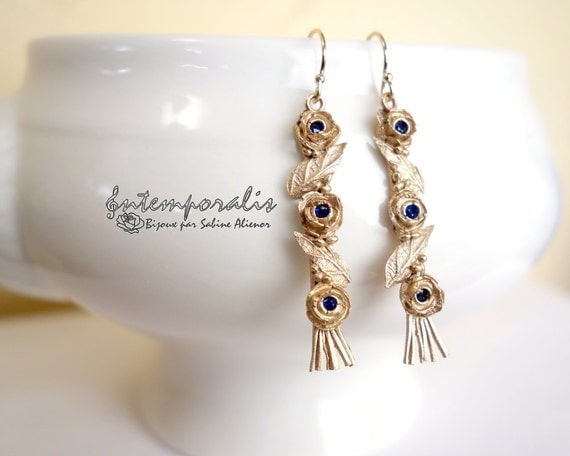 Bronze earrings with blue spinel OOAK, SABO25