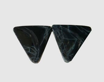 SPIDER'S WEB OBSIDIAN (33687)  * * * * Pair (2 Gems) Wonderful  15 x 15mm Black with Fine Gray Lines - Freeform Cabs