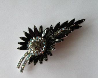 Juliana Delizza & Elster Sunburst Brooch pin black, gray,  aurora borealis rhinestones