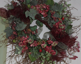 Floral Wreath with Rose/Pink Flowers