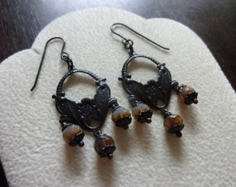 Dark Antiqued Brass Floral Chandelier Earrings with Opal Glass Beads