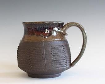 Pottery Coffee Mug, 13 oz, unique coffee mug, handmade ceramic cup, handthrown mug, stoneware mug, wheel thrown pottery mug, ceramics