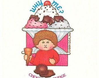 Vintage 1984 Cabbage Patch Kids CHOCOLATE FUDGE Ice Cream Scratch and Sniff Sticker