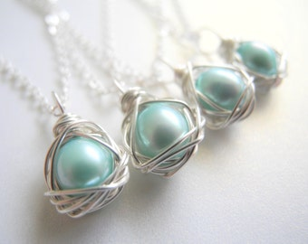Set of Four, Bird Nest Jewelry, Robin's Egg Blue Colored Cultured Freshwater Pearl Eggs Wire Wrapped Nest Necklaces