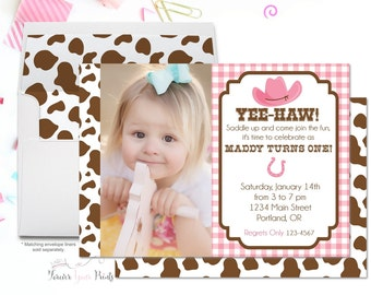 Cowgirl Birthday Invitation, Cowgirl Party Invitation, Cowgirl Party Invite, Cowgirl Birthday Invite, Girl Birthday Invitation, Western
