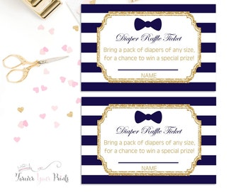 Boys Baby Shower Diaper Raffle Ticket, Bow Tie Baby Shower Insert Cards, Little Man Baby Shower, Navy and Gold, Gold Glitter, Shower Games