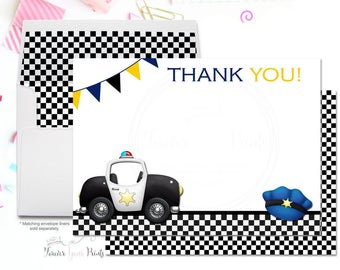 Boys Birthday Thank You Card, Policeman Thank You Card, Policeman Birthday Party, Boys Policeman Party, Police Officer, Cops & Robbers