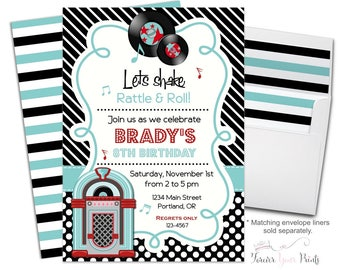 Sock Hop Party Invitations - Sock Hop Birthday Invitations - Sock Hop Party Invites - Fifties Birthday - 50s Diner - 50's Sock Hop - Retro