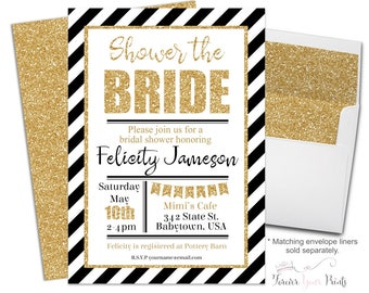 Printable Bridal Shower Invitation - Bridal Shower Invite - Shower The Bride - Engagement Invitation - Bachelorette Invite - Black + White