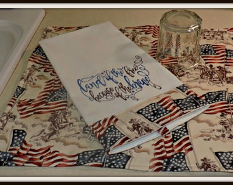 Patriotic dish draining mat and matching towel, land of the free embroidered towel and mat set, vintage patriotic fabric mat and towel set