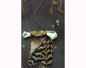 Take Flight feather and bone necklace