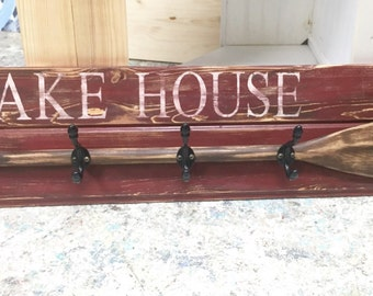 "Paddle Hook Coat Rack House Oar Sign 48"" BEACH or LAKE HOUSE Decor by CastawaysHall"
