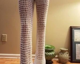 White cotton  crochet pants.