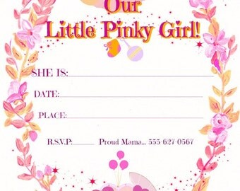 "Baby Cards""Little Pinky Girl"" BabyAnnouncements,OnlineCards,Cutsey,Just Because,Miss You Card,Custom Invitations, 100% CUSTOMIZABLE:  5""X7"""