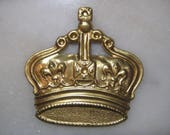"""Vintage Stamped Crown, Brooch Pin Topper or Pendant, Raw Unplated Brass Jewelry Finding, Embellishment, Scrapbooking, 1.75"""" x 1 .75"""", 1 pc."""