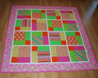 Bright Pink, Lime and Orange Quilt - throw