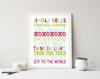 Christmas - SUBWAY ART- Print 8x10 Holiday, Custom