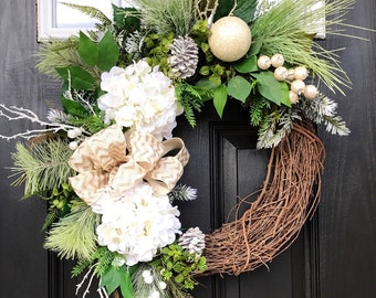 Winter Wreath for Front Door, Christmas Door Wreaths, Front door wreath, Grapevine Door Wreath, Monogram Wreaths, House Warming Gift