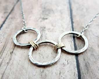 Minimalist Necklace - Hammered Sterling Silver Circles Wire Wrapped with Gold Filled Wire - Dainty Jewelry