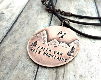 Faith Can Move Mountains Necklace - Christian Necklace - Inspirational Gift - Mountain Landscape - Mountain Jewelry - Christian Jewelry