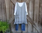 linen tunic jumper pinafore smock in black and white stripe ready to ship