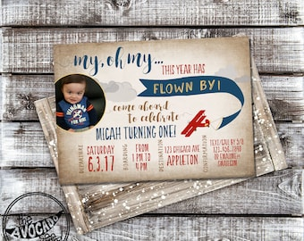 Airplane Birthday - My Oh My The Year Has Flown By! - DIY Printing or Professional Prints