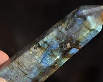 "21x76x13mm 3.0"" Rainbow Luminescent~Fiery Blue LABRADORITE SPECTROLITE Large Terminated Obelisk Tower Point Wand // Crystal Healing- M1085"