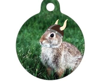 Pet ID Tag - Viking Bunny Photo Pet Tag, Dog Tag, Cat Tag, Bag Tag, Child ID Tag