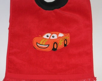Large Baby Boy Bib, Race Car, Pullover Bib, Towel Bib, Matching Items, 12 Colors, Terrycloth Velour Bib, Baby Boy Item. Baby Boy Gift