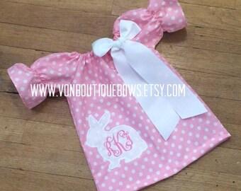 Easter pink white polka dot bunny Dress Newborn 0-3 3-6 6-9 9-12 Month 12 Month 18 Month 2T 3T 4T 5T 6 White Photoshoot personalized