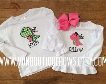 Big little siblings dinosaur Hot Pink green Personalized Boutique Bow Newborn 3 6 9 12 18 Months 2T 3T 4T 5T 6 8 10 12 Short Long Sleeve