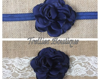 Navy Blue Satin Rosette Headband- Ivory Lace Headband- Ivory Satin Rosette Headband- Flower Girl Headband
