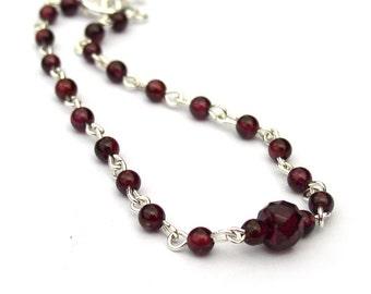 Garnet Bracelet Sterling Silver Chain Layering Jewelry