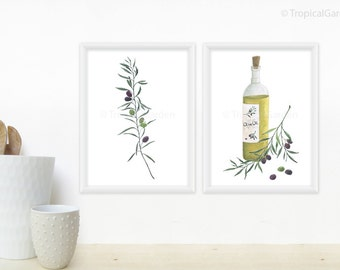 Olive Kitchen Art - Olive Watercolor Print / Any ONE Olives, Olive Oil, Olive Wreath, Olive Branch - 8x11 Kitchen Art Print