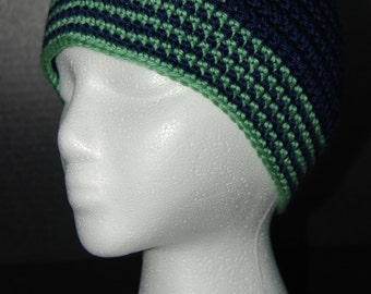 navy and lime green striped beanie