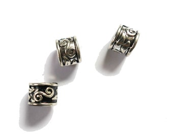 4 Silver swirly dreadlock european dread beads