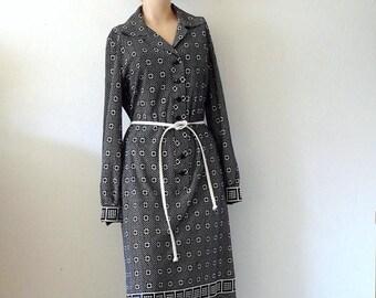 ON SALE 1960s-70s Shirt Dress - mod shift with geometric print - vintage fashion